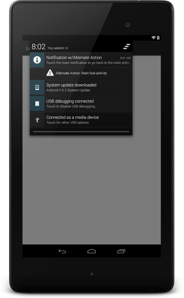 Nexus 7 Notification w/Action